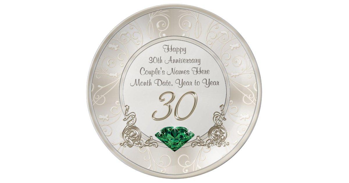 Personalized 30th Wedding Anniversary Gift Ideas Plate Zazzle
