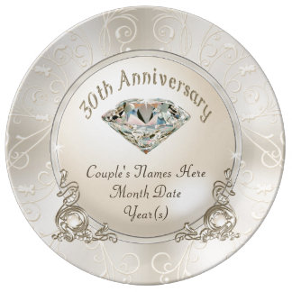 Personalized 30th Wedding Anniversary Gifts Porcelain Plate