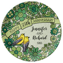 Personalized 35th Anniversary, Jade Floral Birds Dinner Plate