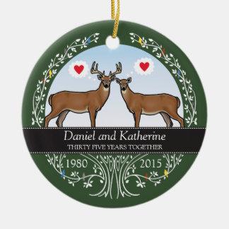 Personalized 35th Wedding Anniversary, Buck & Doe Ceramic Ornament