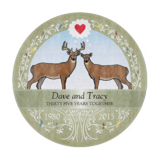 Personalized 35th Wedding Anniversary, Buck & Doe Cutting Board