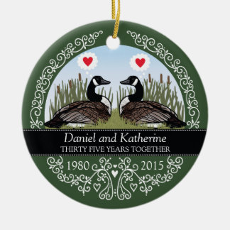 Personalized 35th Wedding Anniversary, Geese Ceramic Ornament