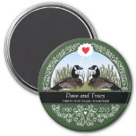 Personalized 35th Wedding Anniversary, Geese 3 Inch Round Magnet