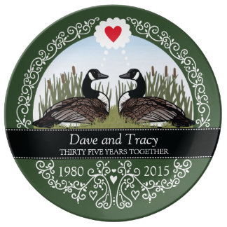 Personalized 35th Wedding Anniversary, Geese Porcelain Plate