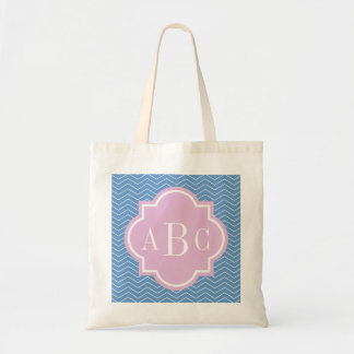 Personalized 3 letter monogram blue pink tote bag