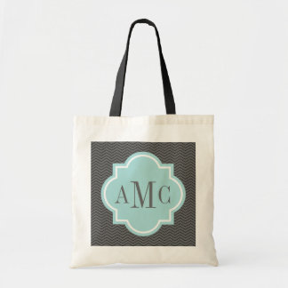 Personalized 3 letter monogram gray teal tote bag