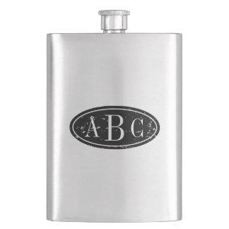 Personalized 3 letter monogram steel flask hip flasks