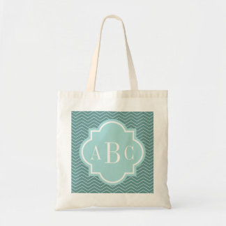 Personalized 3 letter monogram teal blue tote bag