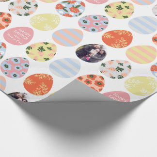 Personalized 3 Photo Easter Eggs Wrapping Paper