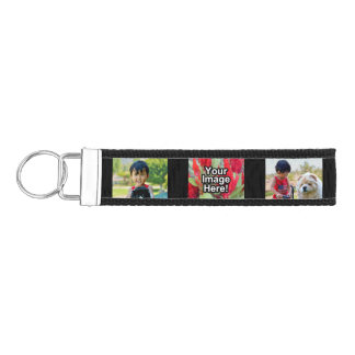 Personalized 3 Photo Keychain Wristband Band