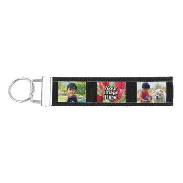 Personalized 3 Photo Keychain Wristband Band