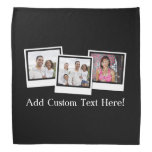 Personalized 3-Photo Snapshot Frames Custom Color Bandana