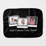 Personalized 3-Photo Snapshot Frames Custom Color Burp Cloth
