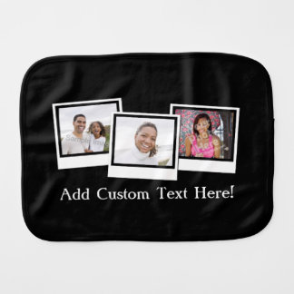 Personalized 3-Photo Snapshot Frames Custom Color Burp Cloths