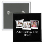 Personalized 3-Photo Snapshot Frames Custom Color 2 Inch Square Button