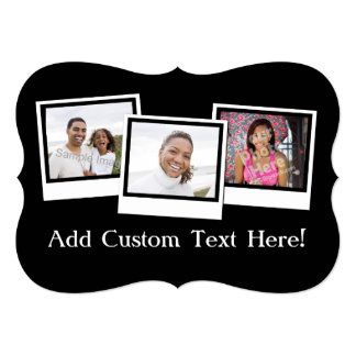 Personalized 3-Photo Snapshot Frames Custom Color Card