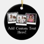 Personalized 3-Photo Snapshot Frames Custom Color Ceramic Ornament