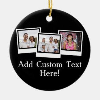 Personalized 3-Photo Snapshot Frames Custom Color Ceramic Ornament
