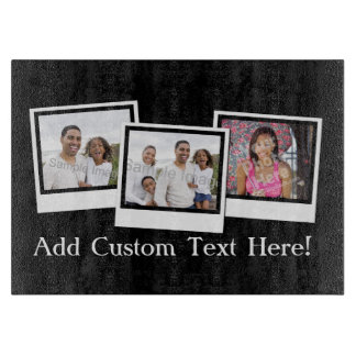 Personalized 3-Photo Snapshot Frames Custom Color Cutting Board