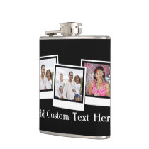 Personalized 3-Photo Snapshot Frames Custom Color Flask