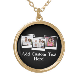 Personalized 3-Photo Snapshot Frames Custom Color Gold Plated Necklace