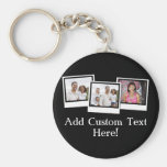 Personalized 3-Photo Snapshot Frames Custom Color Keychain