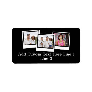 Personalized 3-Photo Snapshot Frames Custom Color Label