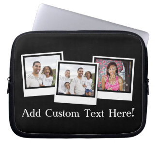 Personalized 3-Photo Snapshot Frames Custom Color Laptop Sleeves