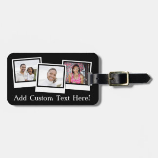 Personalized 3-Photo Snapshot Frames Custom Color Luggage Tag
