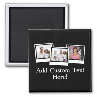 Personalized 3-Photo Snapshot Frames Custom Color Magnet