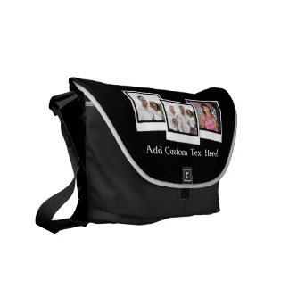 Personalized 3-Photo Snapshot Frames Custom Color Messenger Bag