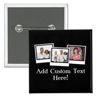 Personalized 3-Photo Snapshot Frames Custom Color Pinback Button