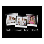Personalized 3-Photo Snapshot Frames Custom Color Poster