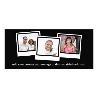 Personalized 3-Photo Snapshot Frames Custom Color Rack Card