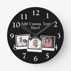 Personalized 3-Photo Snapshot Frames Custom Color Round Clock at Zazzle