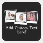 Personalized 3-Photo Snapshot Frames Custom Color Square Sticker