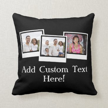 Personalized 3-Photo Snapshot Frames Custom Color Throw Pillow