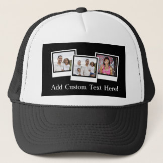 Personalized 3-Photo Snapshot Frames Custom Color Trucker Hat
