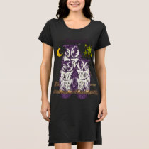 Personalized 3 Purple Owls Moon and Stars Dress