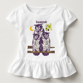 Personalized 3 Purple Owls Moon and Stars Toddler T-shirt