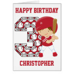 Personalized 3rd Birthday Baseball Batter Red Greeting Card