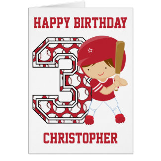 Personalized 3rd Birthday Baseball Batter Red Card