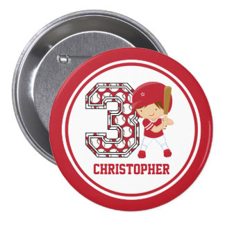 Personalized 3rd Birthday Baseball Batter Red Pinback Button
