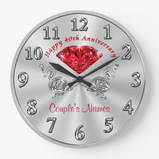 Personalized 40th Anniversary Gifts for Couples Large Clock