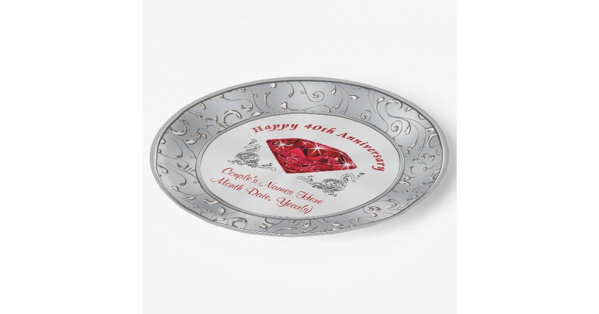 Personalized 40th Anniversary Paper Plates Zazzle