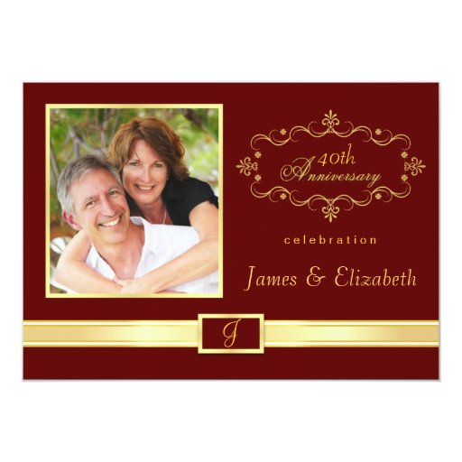 Personalized 40th Anniversary Party Invitations