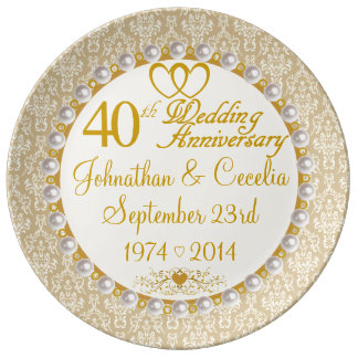 Personalized 40th Anniversary Porcelain Plate