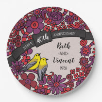 Personalized 40th Anniversary, Ruby Floral Birds Paper Plate