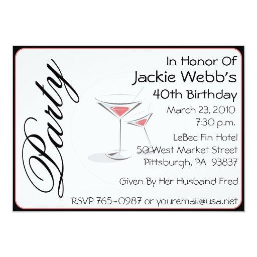 "Personalized 40th Birthday Party Invitation 5"" X 7"" Invitation Card"