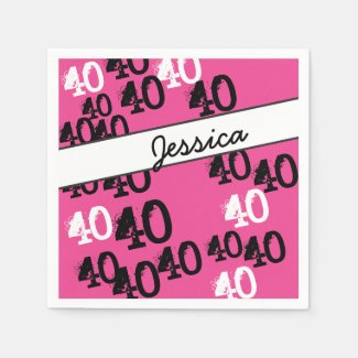 Personalized 40th Birthday Party Napkins Wild Pink